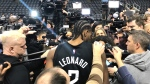 Kawhi Leonard is seen speaking with reporters ahead of Wednesday night's game at Scotiabank Arena. (CTV News Toronto)