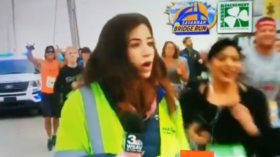 Reporter's butt smacked during marathon