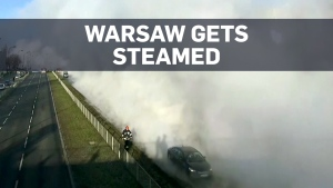 Huge steam cloud bursts onto the streets of Warsaw