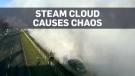 Huge steam cloud bursts onto the streets of Warsa