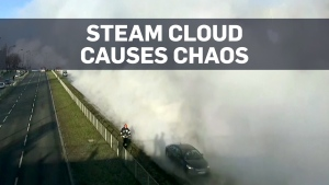 Huge steam cloud bursts onto the streets of Warsa