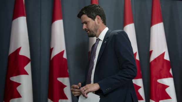 Liberal MP Sean Fraser leaves a news conference in Ottawa, Tuesday, July 9, 2019. The MP from Nova Scotia says he won't be taking his seat in the House of Commons right away to after the death of his newborn daughter.THE CANADIAN PRESS/Adrian Wyld