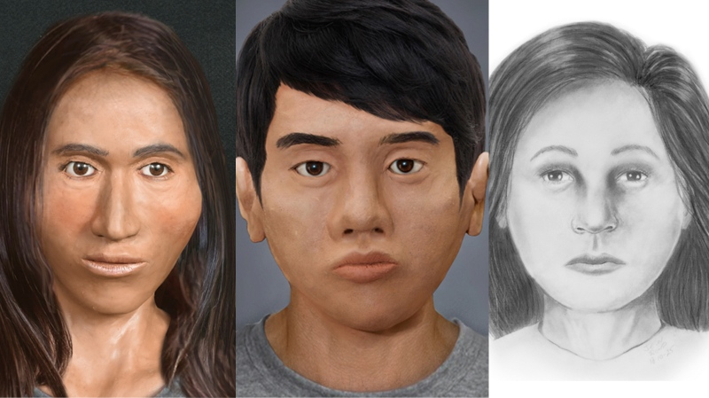 Alberta RCMP released facial reconstructions of three people whose remains have been found in the province over the last 40 years but never identified. Dec. 11, 2019. (RCMP Handout)