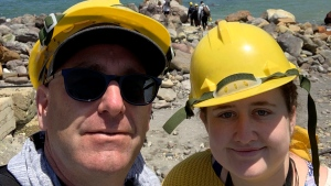 Lillani Hopkins is pictured with her father Geoff prior to the eruption on White Island off the coast of Whakatane, New Zealand. (Lillani Hopkins via AP)