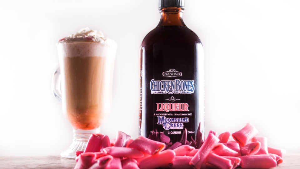 A bottle of Chicken Bones Liqueur is shown in this handout image. (THE CANADIAN PRESS/HO-Moonshine Creek Distillery)