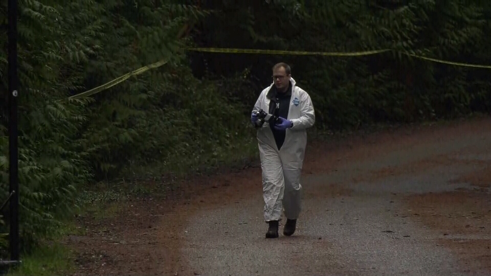 Investigators examine the scene of the deadly plane crash on Gabriola Island on Wednesday, Dec. 11, 2019. (CTV Vancouver Island)