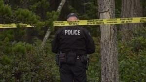 Investigators examine the scene of the deadly plane crash on Gabriola Island on Wednesday, Dec. 11, 2019. (CTV Vancouver Island)