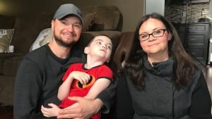 Patrick, Tanner and Leeanne Wilson. (Saron Fanel/CTV Saskatoon)