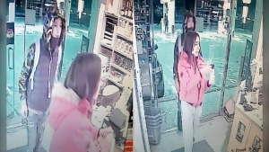 Police are asking for help to identify two suspects involved in a liquor store robbery where the clerk was threatened with bear spray. (Calgary Police)