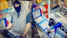Images provided of a man accused in two robberies. (Supplied)