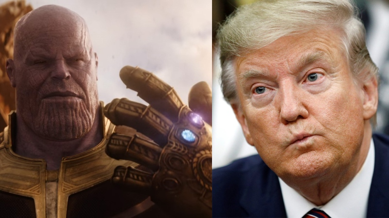 Composite image of the villainous Thanos (Josh Brolin) in Marvel's 'Avengers: Infinity War' and U.S. President Donald Trump (Disney and AP Photo/Patrick Semansky)