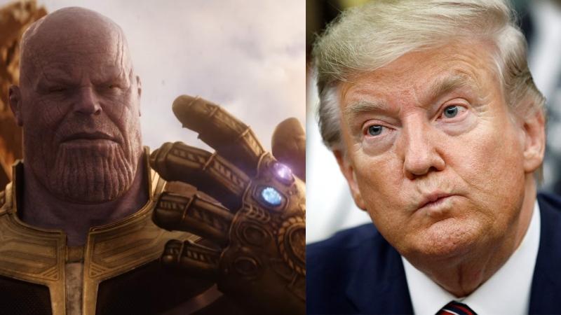 Composite image of the villainous Thanos (Josh Brolin) in Marvel's 'Avengers: Infinity War' and U.S. President Donald Trump (Disney and AP Photo/Patrick Semansky)