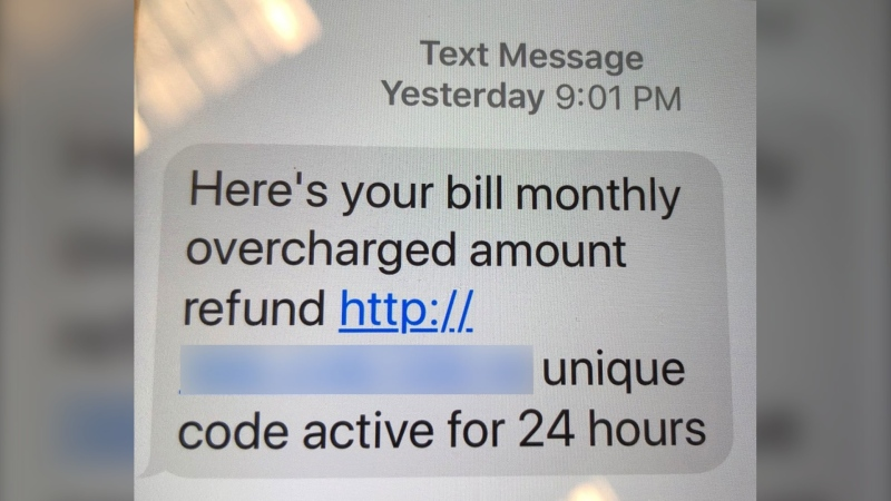The text messages often have stories of refunds on bill overpayments, but authorities say the links lead to malware. (Supplied)