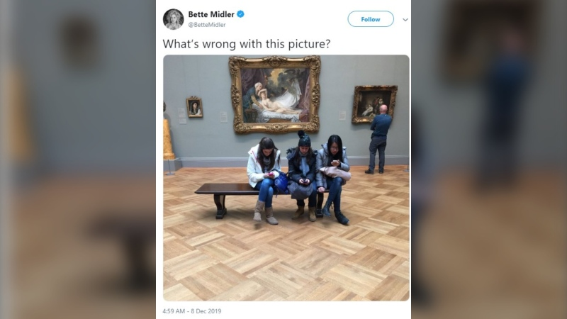 People cared more that Midler shamed young people in a museum for appearing less than riveted by a 250-year-old painting of a nude woman. (Bette Midler/Twitter)