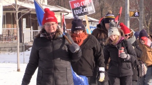 OSSTF members hold a second walkout forcing the closure of secondary and some elementary schools across the province on Wed., Dec. 11, 2019. (Mike Arsalides/CTV News)