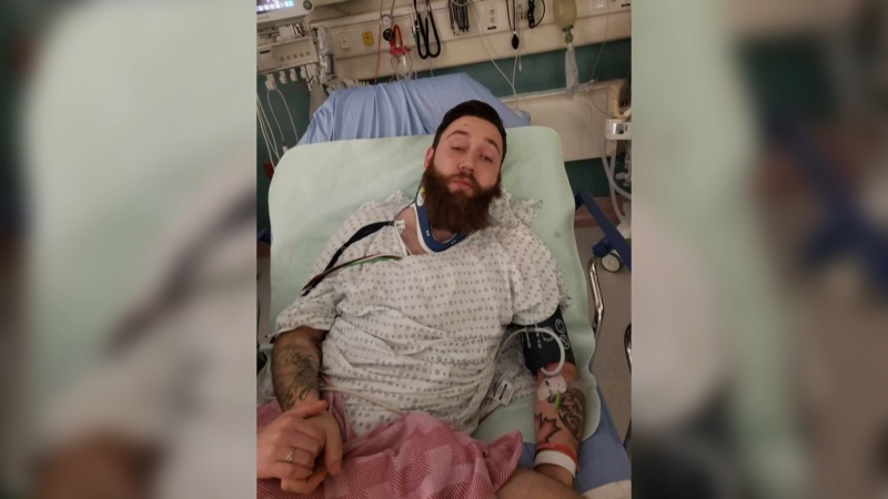 Adam Fortier, a zookeeper at the Edmonton Valley Zoo, was hit by a vehicle in the parking lot and is recovering in hospital. Dec. 11, 2019. (Rachell Fortier)