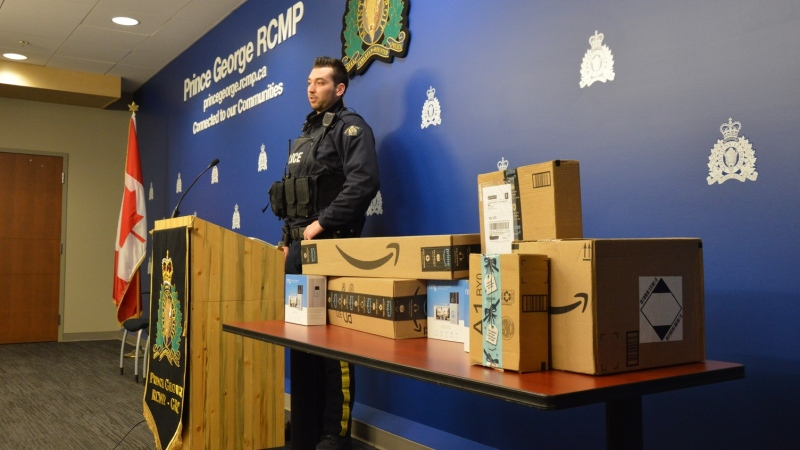 Prince George RCMP said the idea for the bait package program came from frontline officer Const. Brent Benbow, who reached out to Amazon to discuss the theft of the company's packages from doorsteps and mailboxes in Prince George. (RCMP handout)