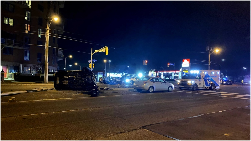A woman in her 70s was pronounced dead after a three-vehicle collision in Etobicoke Wednesday night. (CTV News Toronto/Peter Muscat)