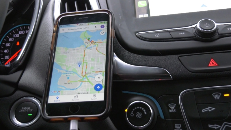A cellphone is mounted onto a car's dashboard in this CTV News file image.
