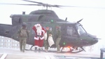 Santa on his way to deliver presents to kids at the Stollery. Dec. 11, 2019. (CTV News Edmonton)
