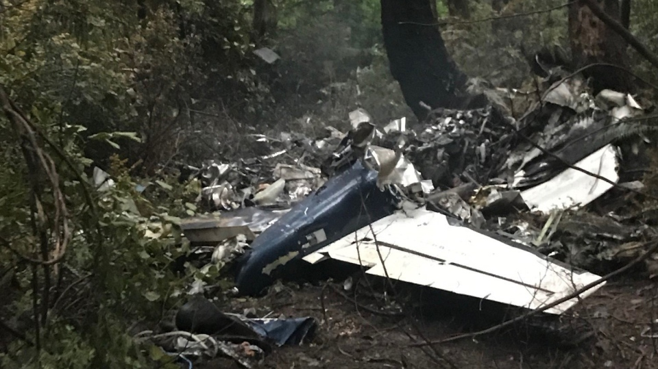 The scene of a small plane crash on Gabriola Island, B.C., is shown on Wednesday, Dec.11, 2019. A plane that one witness describes as crashing in a