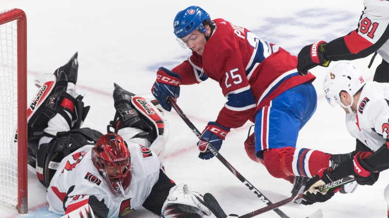 Montreal Canadiens' Ryan Poehling (25) moves in on Ottawa Senators goaltender Anders Nilsson during third period NHL hockey action in Montreal, Wednesday, December 11, 2019. THE CANADIAN PRESS/Graham Hughes