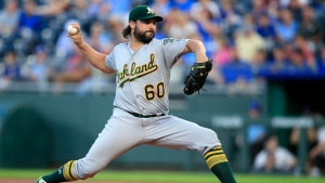 Oakland Athletics starting pitcher Tanner Roark delivers to a Kansas City Royals batter during the first inning of a baseball game at Kauffman Stadium in Kansas City, Mo., Wednesday, Aug. 28, 2019. THE CANADIAN PRESS/AP, Orlin Wagner