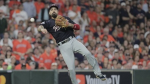 FILE - In this Tuesday, Oct. 29, 2019 file photo, Washington Nationals' Anthony Rendon throws out Houston Astros' George Springer during the third inning of Game 6 of the baseball World Series in Houston. (AP Photo/David J. Phillip, File)