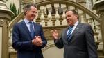 California Gov. Gavin Newsom meets with François Legault, Premier of Quebec, at the Stanford Mansion on Wednesday, Dec. 11, 2019, in Sacramento, Calif. (Renée C. Byer/The Sacramento Bee via AP, Pool)
