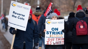 Educators picket outside the Bickford Centre in Toronto on Wednesday Dec. 11, 2019. THE CANADIAN PRESS/Chris Young