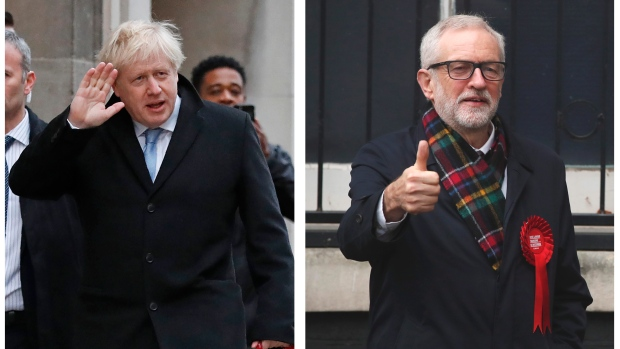 In this two photo combo image, showing the leaders of Britain's two main political parties outside their polling stations to vote Thursday Dec. 12, 2019, in the general election. At left is Conservative Party leader Boris Johnson at Methodist Central Hall in Westminster area of London, and photo at right shows Britain's Labour Party leader Jeremy Corbyn, in Islington area of London. (AP Photo/Frank Augstein, Thanassis Stavrakis)