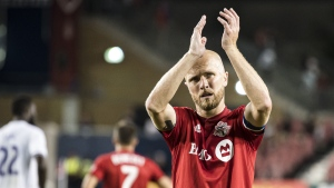 Toronto FC midfielder Michael Bradley (4) reacts after tying the Orlando City FC 1-1, in MLS soccer action in Toronto, on Saturday, August 10, 2019. THE CANADIAN PRESS/Christopher Katsarov