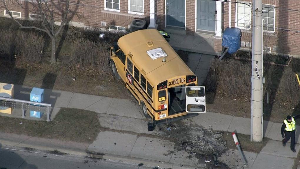 Crash involving school bus and TTC bus sends three people to hospital