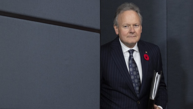 Bank of Canada Governor Stephen Poloz arrives for a news conference in Ottawa, Wednesday October 30, 2019. THE CANADIAN PRESS/Adrian Wyld