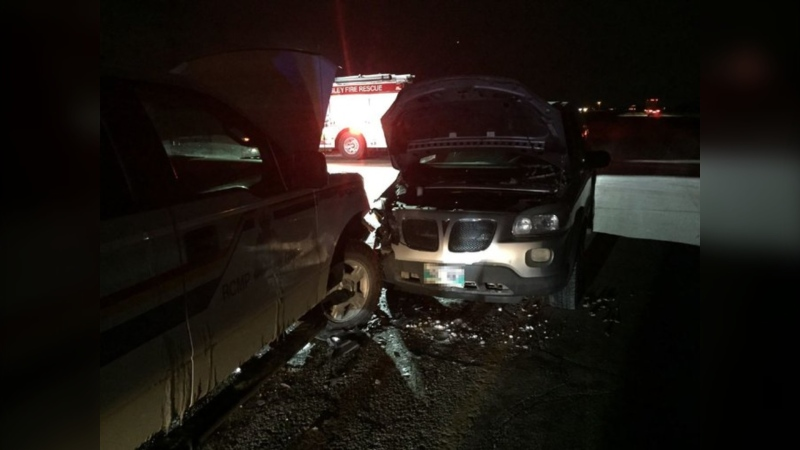 A minivan crashed into an RCMP truck on Wednesday. (Source: Twitter/RCMP Manitoba)