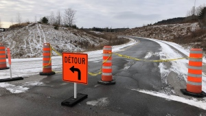 A detour is in place along the Highway 50 on-ramps at Montée Fassett just east of Montebello after a driver was killed in a head-on crash early Thursday, Dec. 12, 2019. (Peter Szperling/CTV Ottawa)