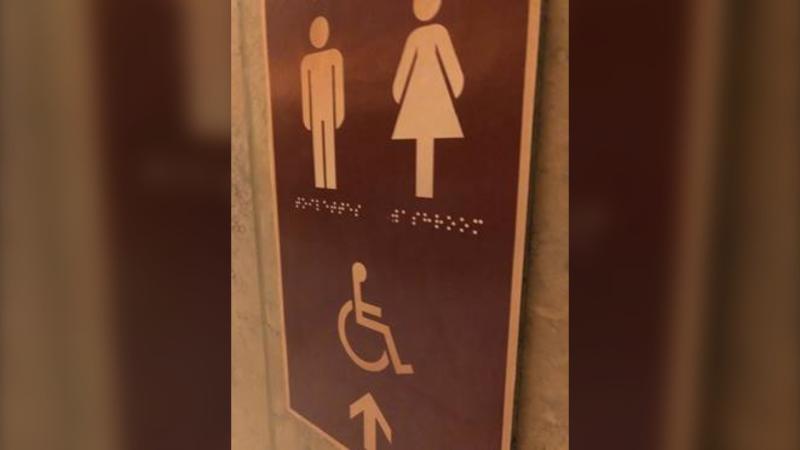 A sign with fake braille is seen on Parliament Hill. Photo: Rachel Gilmore/CTVNews.ca