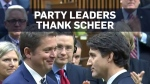 Scheer thanked in the House of Commons after stepp