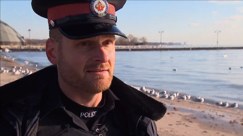 Acting Sgt. Mark Pillman with Durham Regional Police jumped into icy waters to save a drowning man in Lake Ontario on Saturday, Dec. 7, 2019.