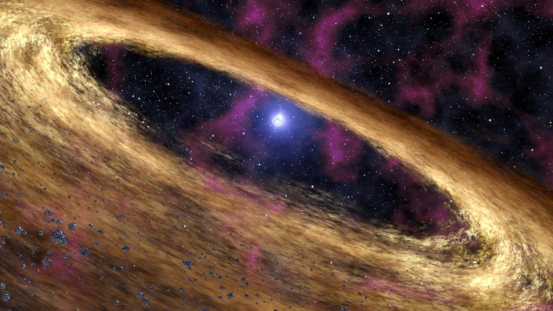 A rendering provided by NASA/JPL-Caltech, depicts a dead star called a pulsar and the surrounding disk of rubble, discovered by NASA's Spitzer Space Telescope. (AP Photo/NASA, JPL-Caltech)