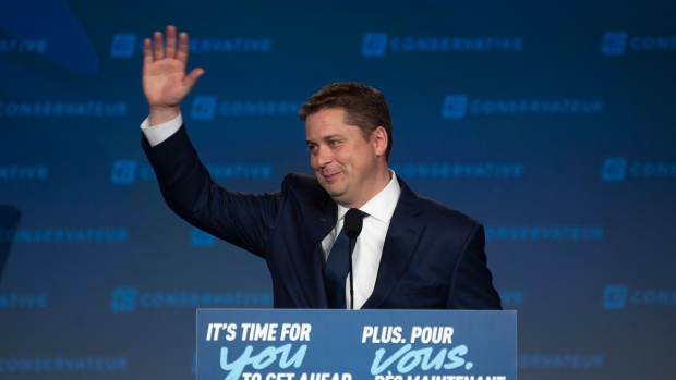 Conservative Leader Andrew Scheer acknowledges supporters following a speech on election night at party campaign headquarters in Regina, Tuesday, October 22, 2019. Scheer is stepping down as a Conservative leader. THE CANADIAN PRESS/Adrian Wyld