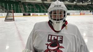 Tracey Arnold plays co-ed sledge hockey with the Saskatoon Ice Tornadoes. (Saron Fanel/CTV Saskatoon)