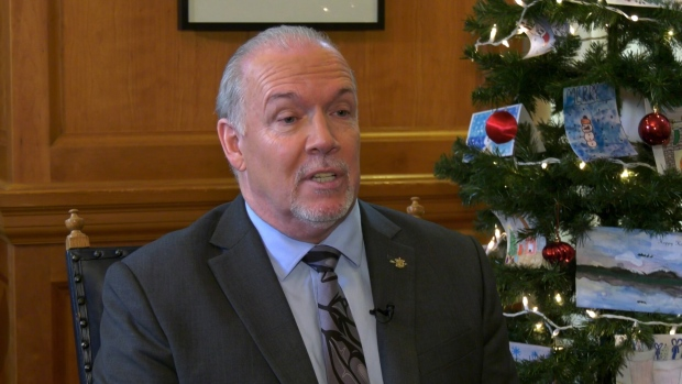 B.C. Premier John Horgan speaks to CTV News Vancouver in an end-of-the-year interview on Thursday, Dec. 12, 2019. (CTV)