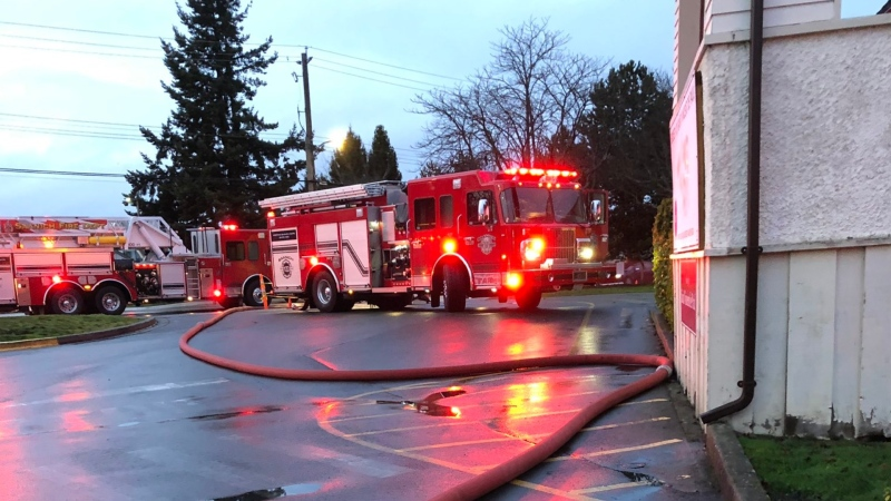 The Saanich Fire Department said no injuries were reported following the Thursday evening fire: (Saanich Fire / Twitter)
