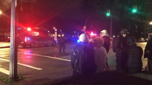 Police shut down several streets in the area while responding to the shooting, and numerous officers and vehicles could be seen at the park. (CTV)