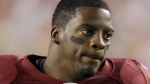 FILE - This Sept. 12, 2010, file photo shows Washington Redskins running back Clinton Portis before the start of an NFL football game against the Dallas Cowboys, in Landover, Md. (AP Photo/Rob Carr, File)