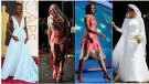This combination photo shows, from left, Lupita Nyong'o at the Oscars on March 2, 2014, singer Lady Gaga wearing a dress made of meat at the MTV Video Music Awards on Sept. 12, 2010, Michelle Obama wearing a Tracy Reese dress at the Democratic National Convention on Sept. 4, 2012, and Meghan Markle at St George's Chapel at Windsor Castle. (AP Photo)