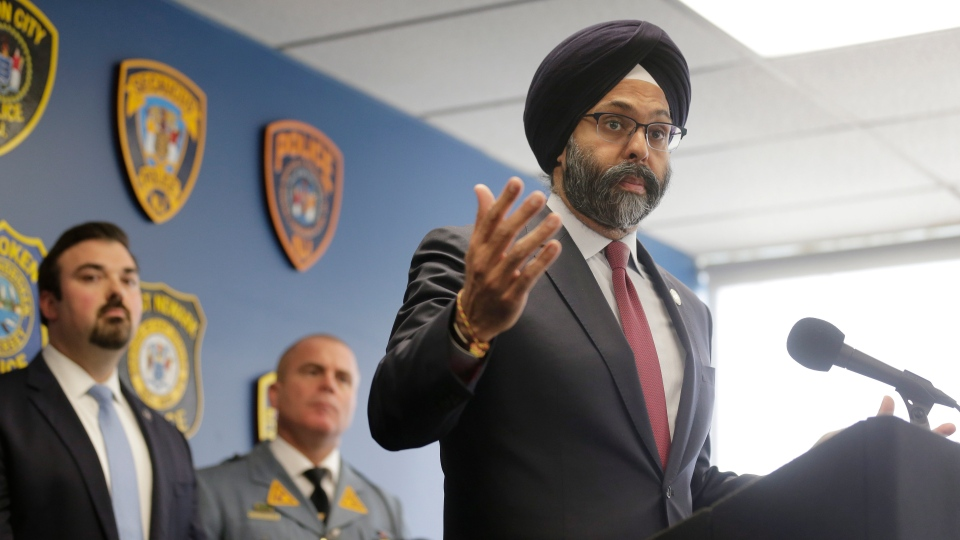 New Jersey Attorney General Gurbir Grewal speaks during a news conference in Jersey City, N.J., Thursday, Dec. 12, 2019. (AP Photo/Seth Wenig)