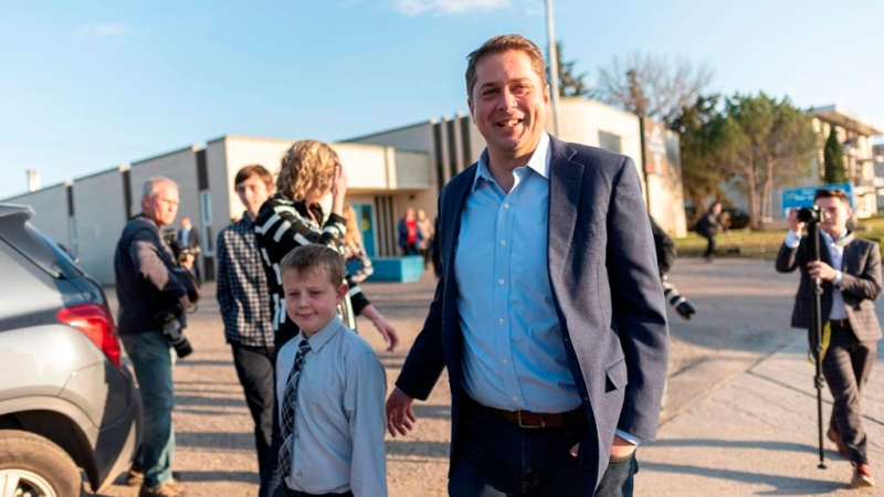 Conservative Party Leader Andrew Scheer leaves a voting station at Our Lady of Peace Parish on Election Day in Regina, Monday, Oct. 21, 2019. THE CANADIAN PRESS/Michael Bell