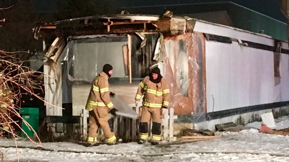 trailer fire, 4515 76 Ave. NW